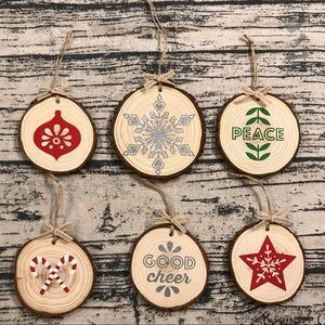 Assorted Rustic Wood Ornaments